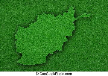 Map of Afghanistan on green felt