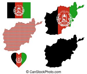 map of Afghanistan - map flag and symbol of Afghanistan on a...