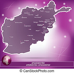 Map of Afghanistan with abstract background in violet