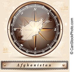 Map of Afghanistan with borders in bronze