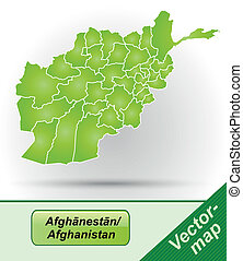 Map of Afghanistan with borders in green