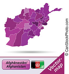 Map of Afghanistan with borders in violet
