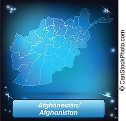 Map of Afghanistan with borders with bright colors