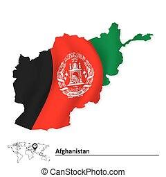 Map of Afghanistan with flag
