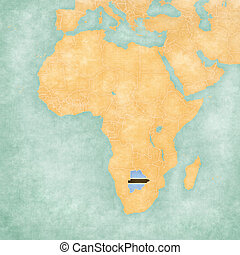 Botswana (Motswana flag) on the map of Africa. The Map is in vintage summer style and sunny mood. The map has soft grunge and vintage atmosphere, like watercolor painting on old paper.