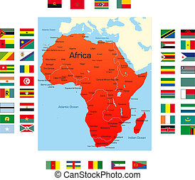 Map of Africa - Abstract map of africa continent with...