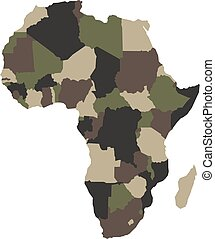Map of Africa in army camouflage colors. Vector illustration