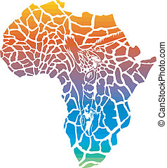 Map of Africa in giraffe camouflage