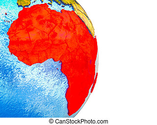 Map of Africa on 3D Earth