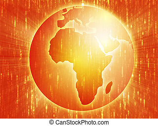 Map of Africa on globe illustration - Map of the Africa, on ...