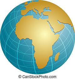 Map of Africa on globe illustration