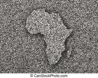 Map of Africa on poppy seeds