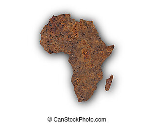 Map of Africa on rusty metal