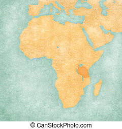 Tanzania on the map of Africa in soft grunge and vintage style, like old paper with watercolor painting.