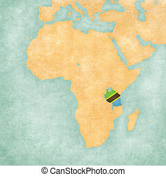 Tanzania (Tanzanian flag) on the map of Africa. The map is in soft grunge and vintage style, like watercolor painting on old paper.