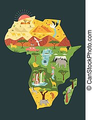Map of Africa with famous natural landmarks and animals
