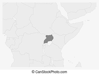Map of Africa with highlighted Uganda map