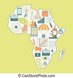 Map of Africa with technology icons