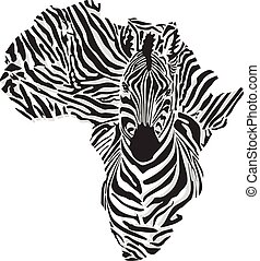 Map of Africa with the head giraffe - vector illustration of...