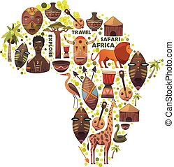Map of Africa with vector icons. Masks, music, animals, people. Safari, travel and adventure. Explore new world.