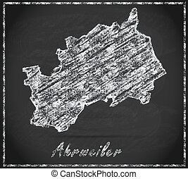 Map of Ahrweiler as chalkboard in Black and White