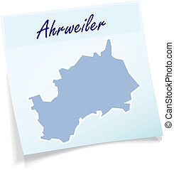 Map of Ahrweiler as sticky note in blue