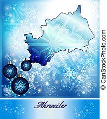 Map of Ahrweiler in Christmas Design in blue