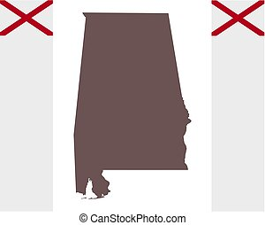 Map of Alabama on background with flag