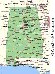 Map of Alabama. Shows state borders, urban areas, place names, roads and highways. Projection: Mercator.