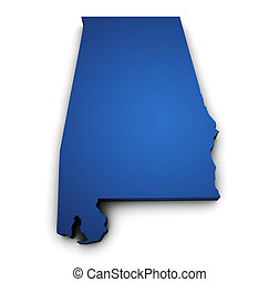 Map Of Alabama State 3d Shape