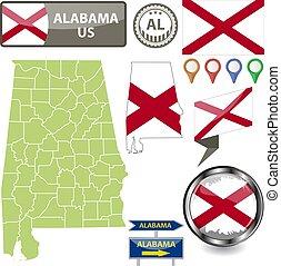 Map of Alabama, US