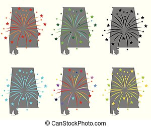 Map of Alabama with fireworks