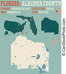 Map of Alachua County in Florida