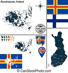 Map of Aland Islands, Finland - Vector map of Aland Islands...