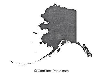 Map of Alaska on dark slate