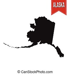 Map of Alaska on white background, vector illustration