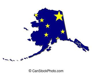 Map of Alaska and state flag illustration