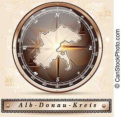 Map of Alb-Donau-Kreis with borders in bronze