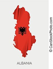 Map of Albania - Map Of Albania With Flag As Texture...