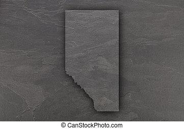 Map of Alberta on dark slate