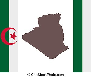 Map of Algeria on background with flag