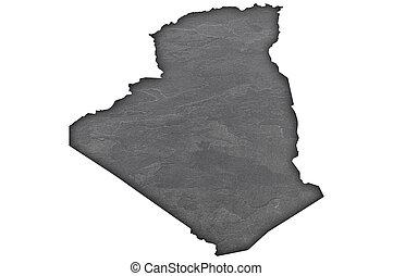 Map of Algeria on dark slate