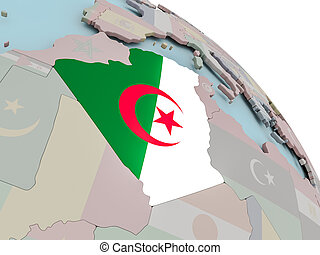 Map of Algeria with flag - Illustration of Algeria on...