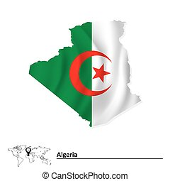 Map of Algeria with flag