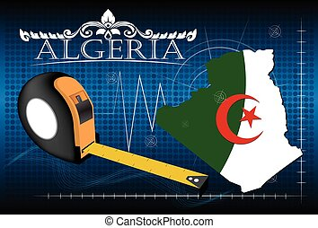 Map of Algeria with ruler, vector.