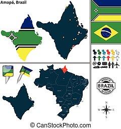 Map of Amapa, Brazil