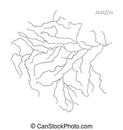 Map of Amazon river drainage basin. Simple thin outline...