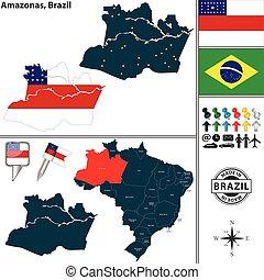 Map of Amazonas, Brazil