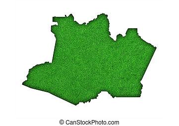Map of Amazonas on green felt