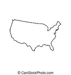 Map Of America Black Color Icon .